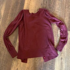 Maroon lululemon open back crew neck sweater